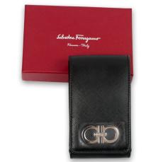Salvatore Ferragamo Black Leather Phone Case