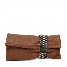 Jimmy Choo Brown Leather Chandra Clutch 01