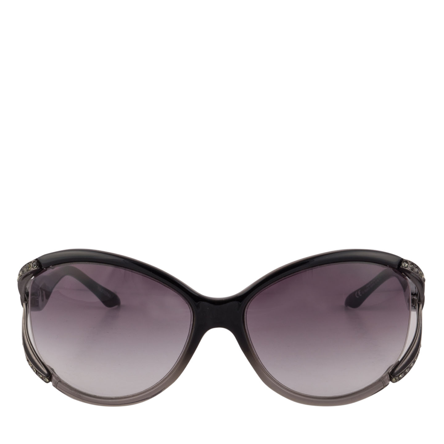 Valentino Black Crystal Bow Accent Sunglasses - LabelCentric