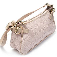 Salvatore Ferragamo Pink Logo Embossed Leather Bag