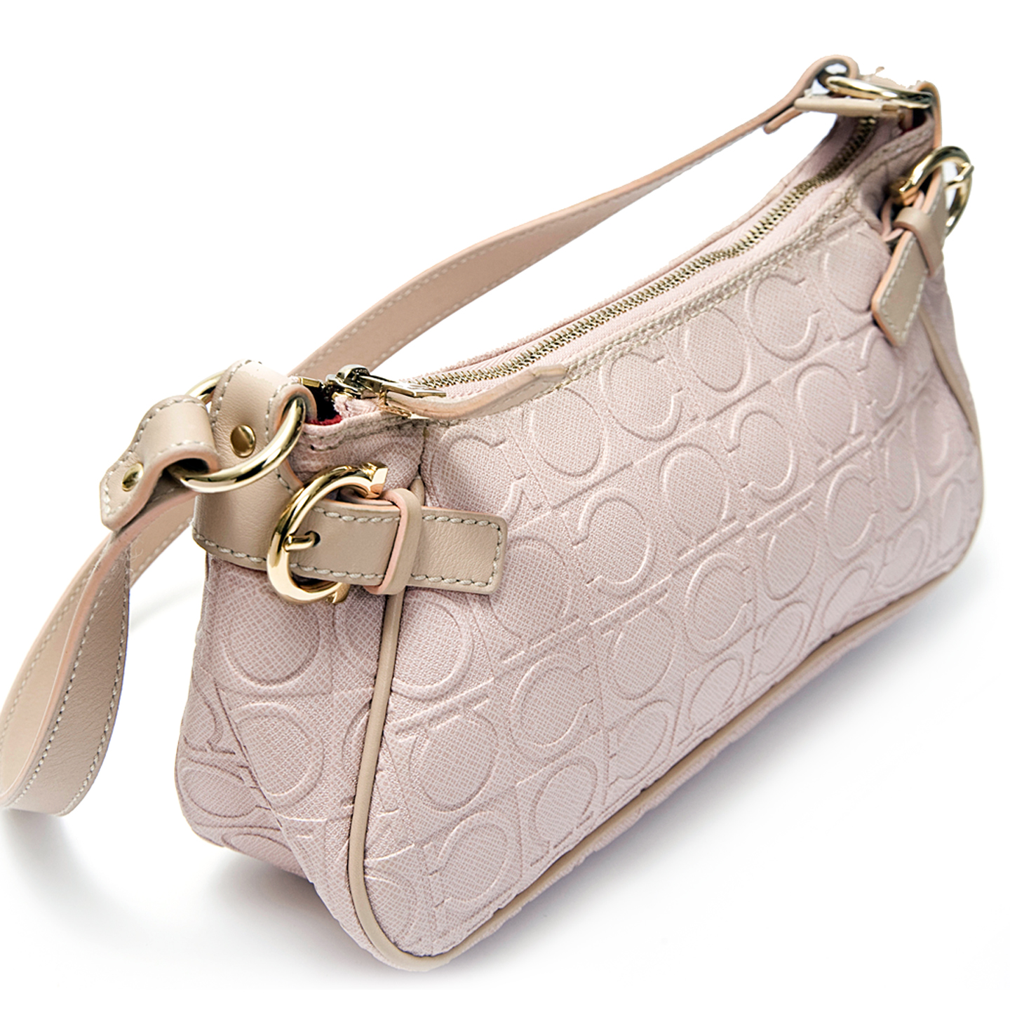 Salvatore Ferragamo Pink Logo Embossed Leather Bag - LabelCentric 7afbe243c6