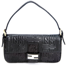 Fendi Black Embossed Nappa Leather Baguette Bag
