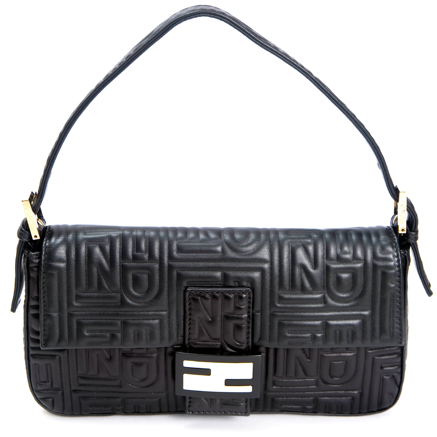 6028223c187b Fendi Black Embossed Nappa Leather Baguette Bag - LabelCentric