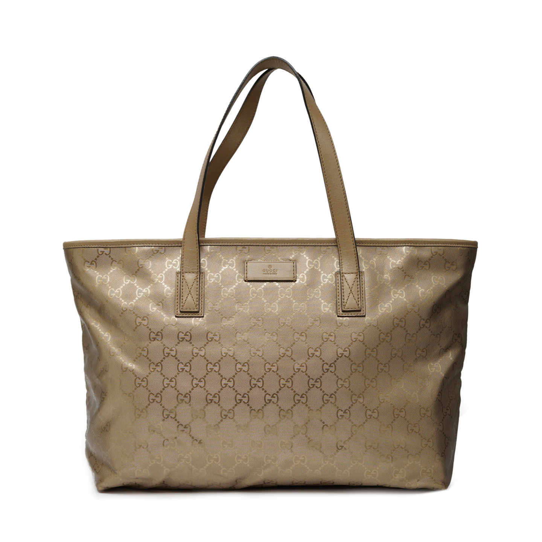99fe8d1cd216 Gucci Imprime Monogram Gold Tote Bag - LabelCentric