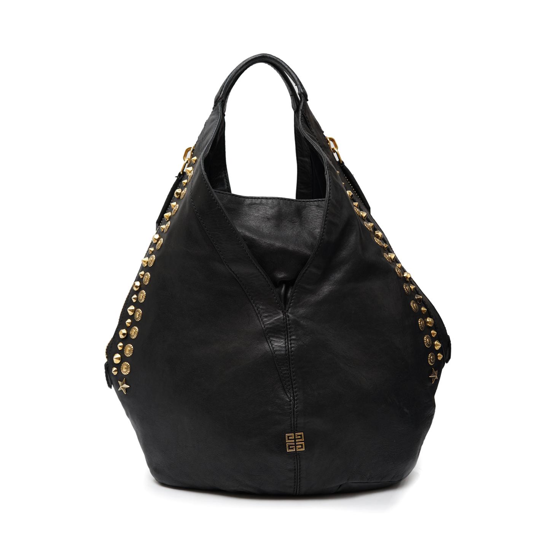 a2b236c8d5 Givenchy Lambskin Studded Tinhan Hobo Black Bag - LabelCentric