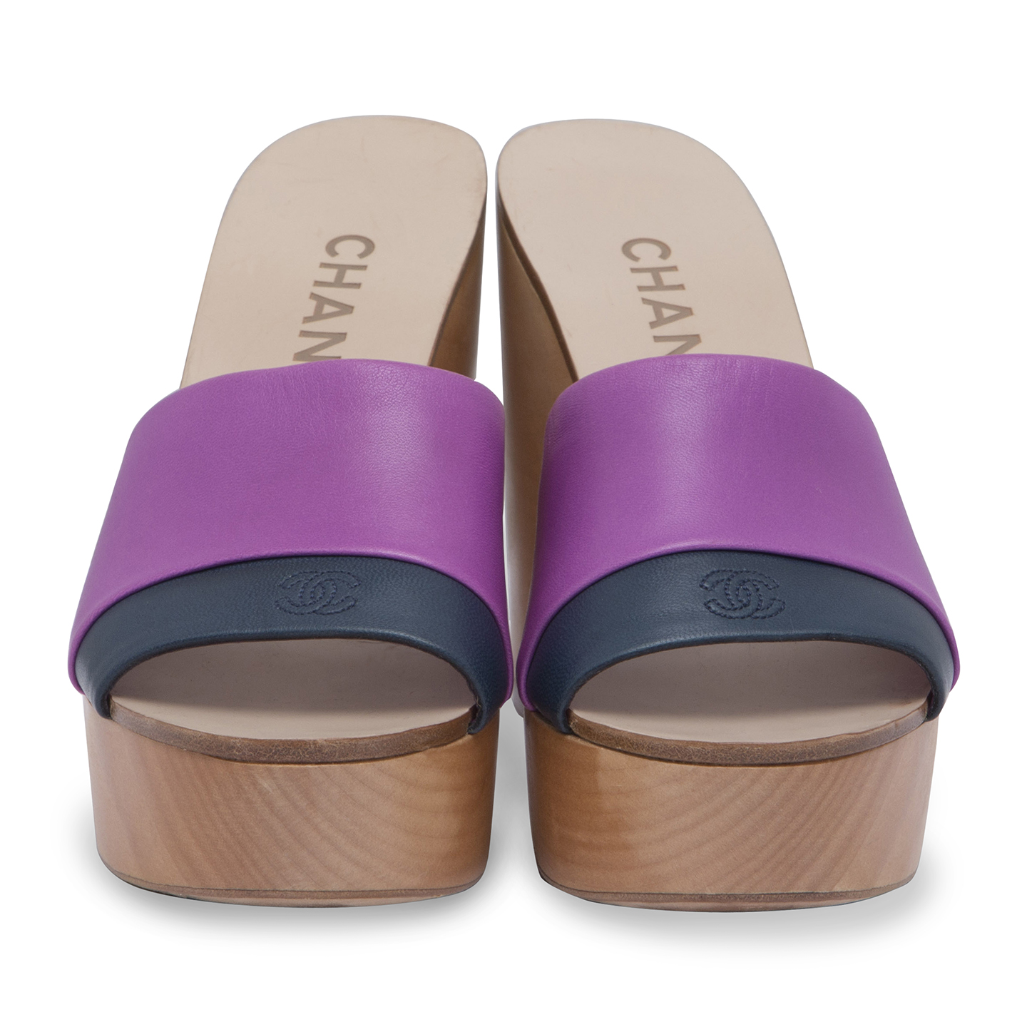 32d9bea2c186 Chanel Leather And Wooden Clogs Size 35 - LabelCentric