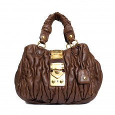 Miu Miu Brown Matelasse Leather Bauletto Aperto Bag 05