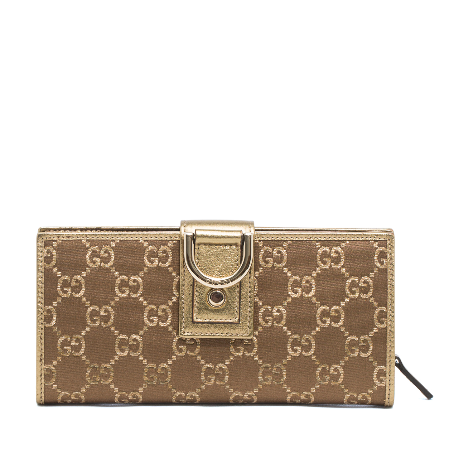 Gucci Monogram Abbey Continental Wallet Gold 01