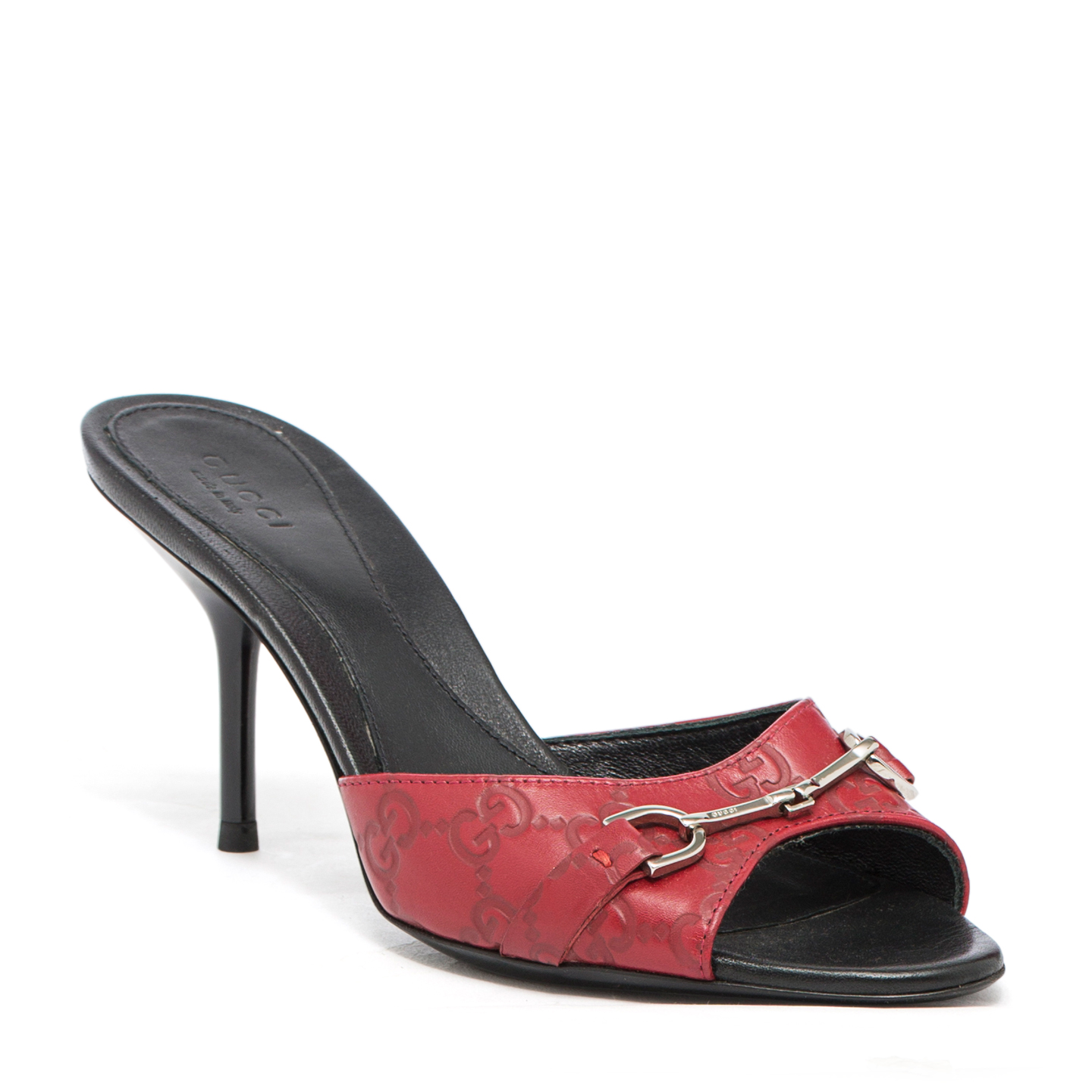 Gucci Red Guccissima Horsebit Slide Sandals 01