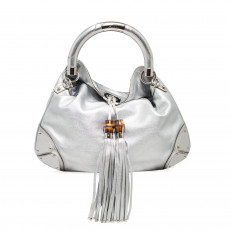 Gucci Metallic Silver Leather Indy Top Handle Bag 01