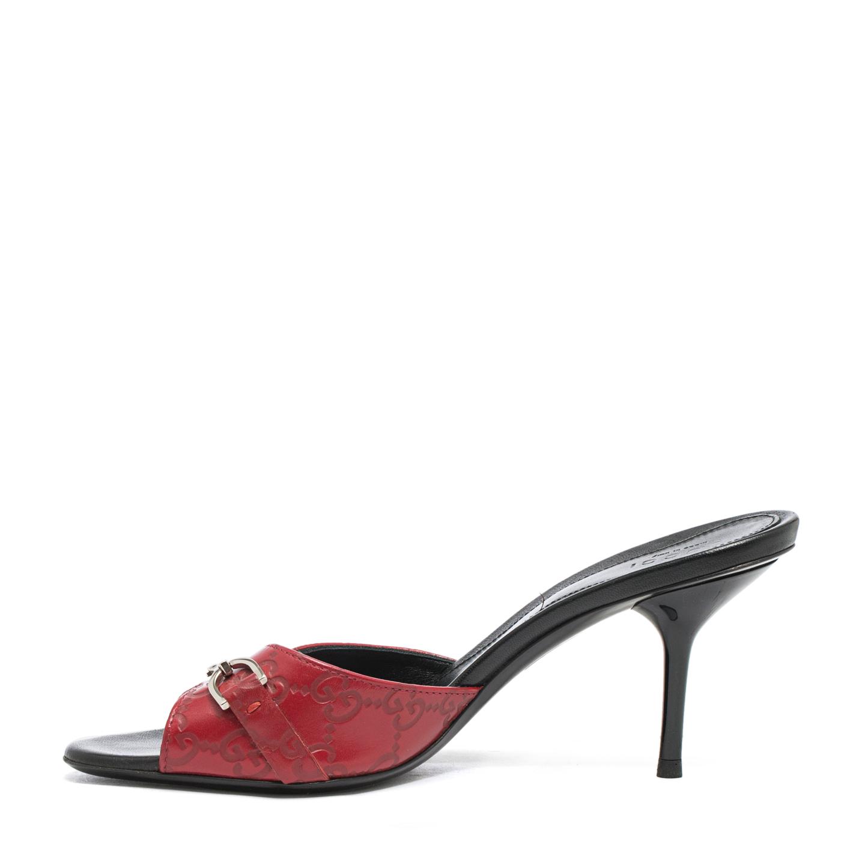 2871ec921 Gucci Red Guccissima Horse-bit Slide Sandals Size 36.5 - LabelCentric