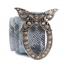Just Cavalli Snake Embossed Butterfly Buckle Belt 01