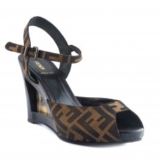 Fendi Zucca Canvas Slingback Wedge 01