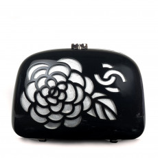 Chanel Black Resin Camellia Clutch Evening Bag 01