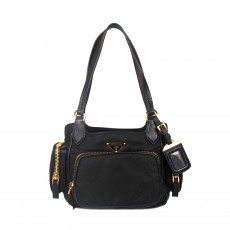 Prada Black Leather Trimmed Tessuto Bag 01