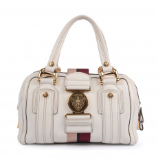 Gucci White Leather Aviatrix Boston Bag