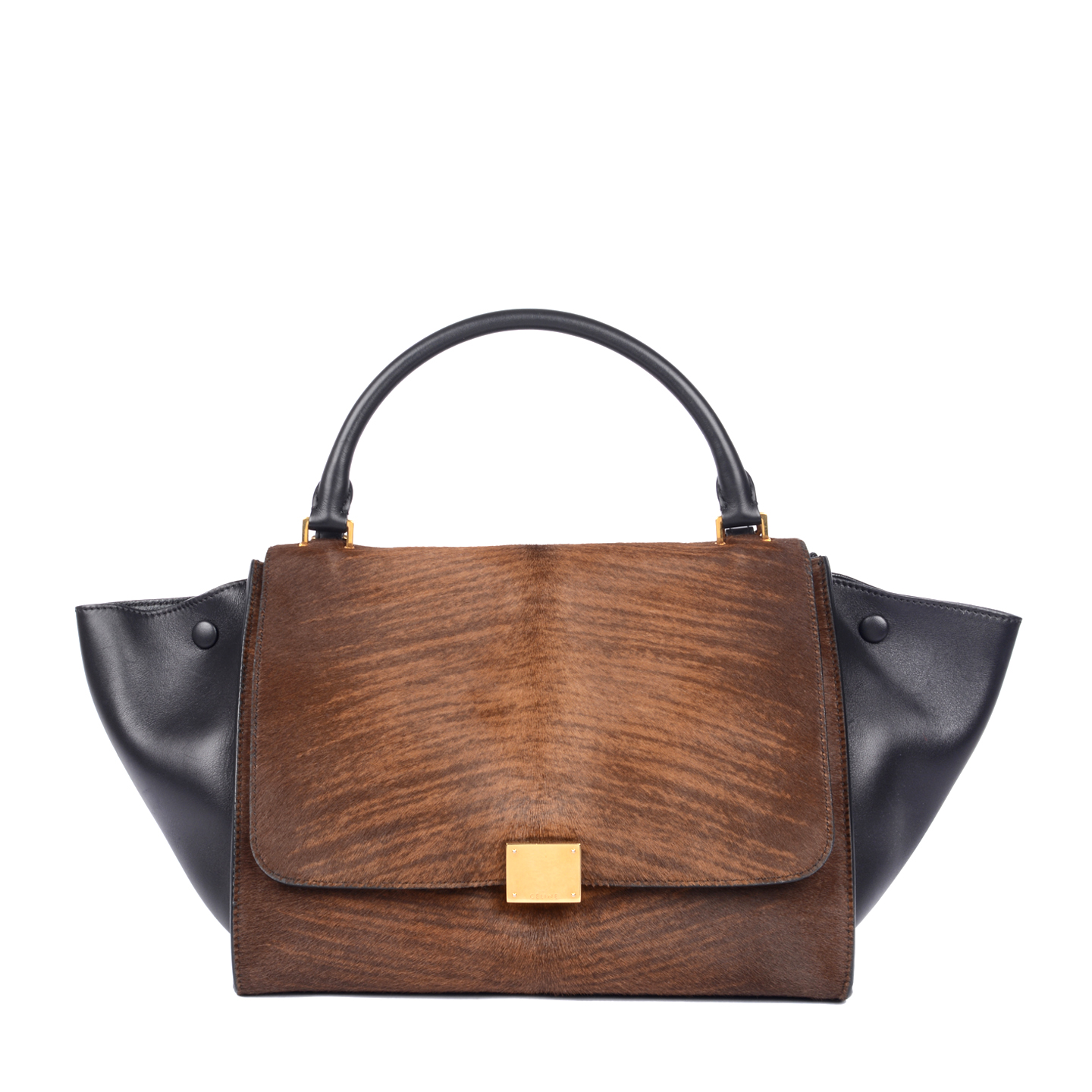 Celine Dark Brown Calf Hair Trapeze Bag