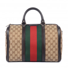 Gucci GG Canvas Vintage Web Boston Bag 1