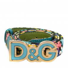 Dolce & Gabbana Blue Floral Belt 01