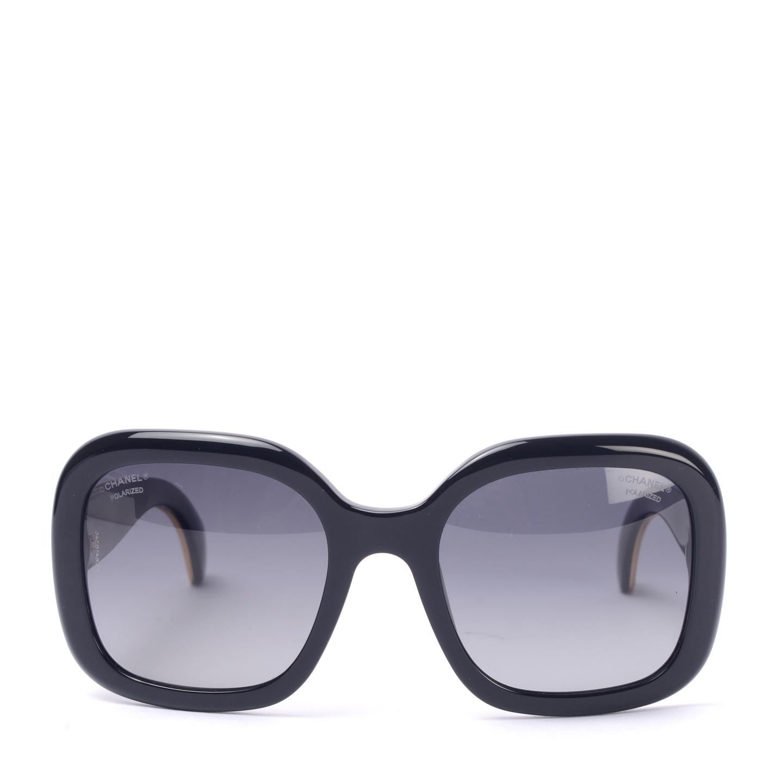Chanel Black Polarised Sunglasses with stingray temples001