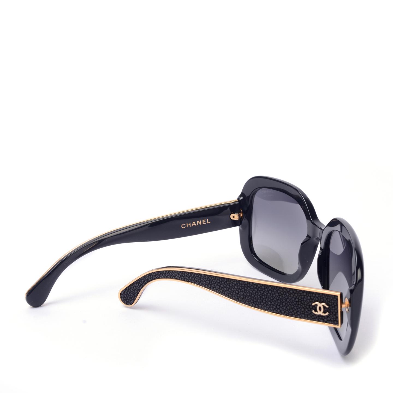 8872376e14f6 ... Chanel Black Polarised Sunglasses with Stingray Temples 5272 Q