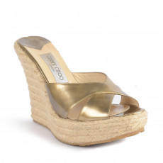 00d8dd4b0 These metallic patent  Phyllis  espadrilles wedges slides are comfortable  and glamorous. These wedges
