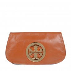 Tory Burch Cognac Leather Reva Clutch 01