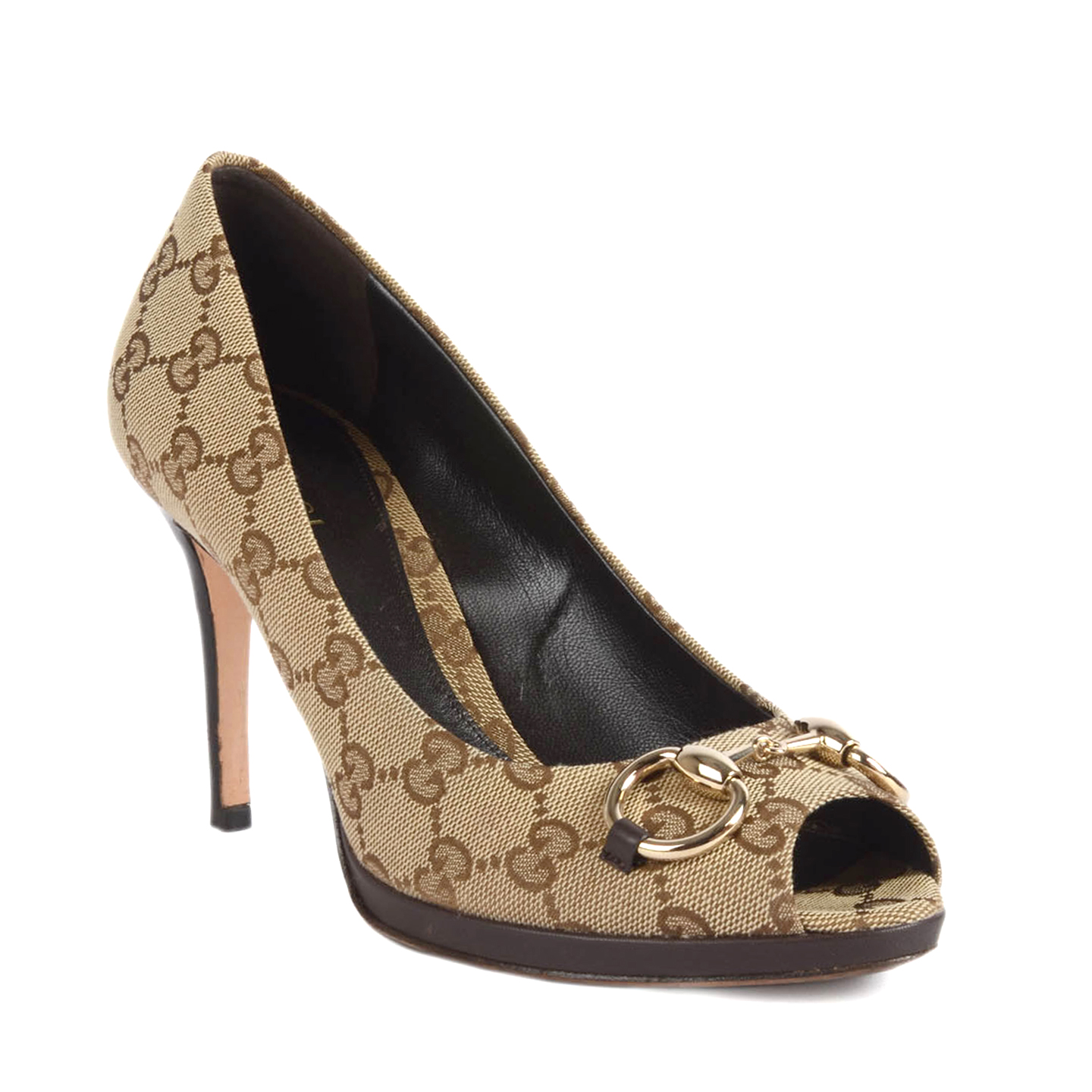 ac7f618a3 Gucci Beige/Ebony GG Canvas Horsebit Peep-Toe Pumps Size 37.5-1 ...