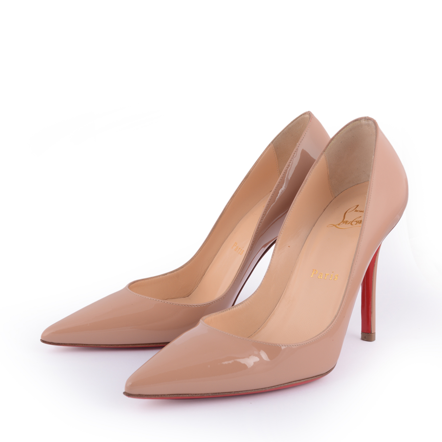 huge discount a8c87 0e2ed Christian Louboutin Apostrophy Nude Pumps 100 mm Size 36 - LabelCentric
