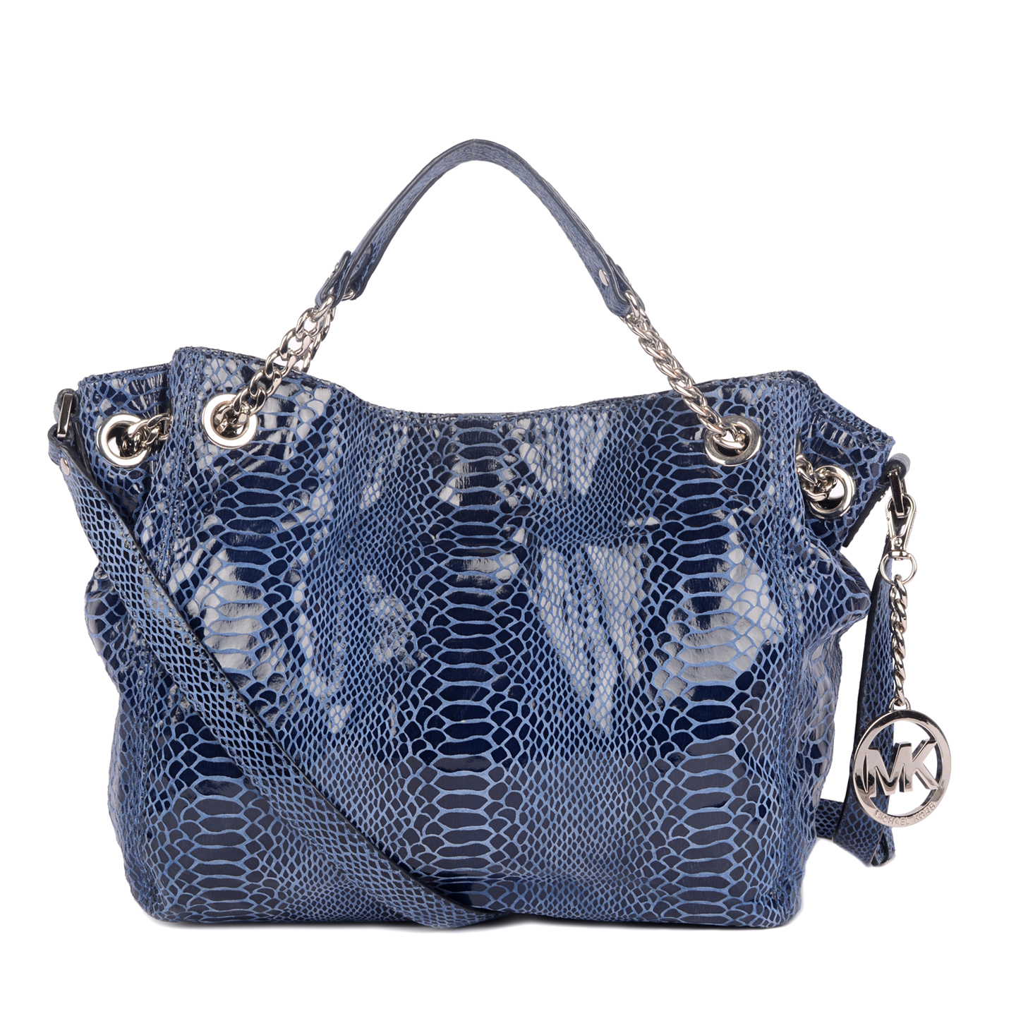 Michael Kors Jet Set Chain Gather Shoulder Tote, Blue Python Embossed 01