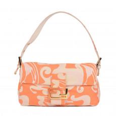 Fendi Leather Trimmed Jacquard Baguette Bag 01