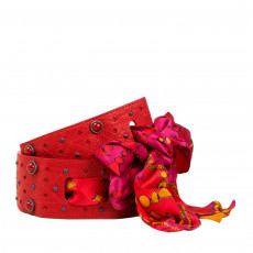 Christian Dior Red Leather Embellished Wide Belt 02