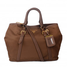 Prada Brown Tessuto & Leather Satchel 01