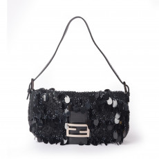 Fendi Black Paillettes Baguette Bag1