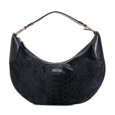 Gucci Black Pony Hair Snake Embossed Hobo  01