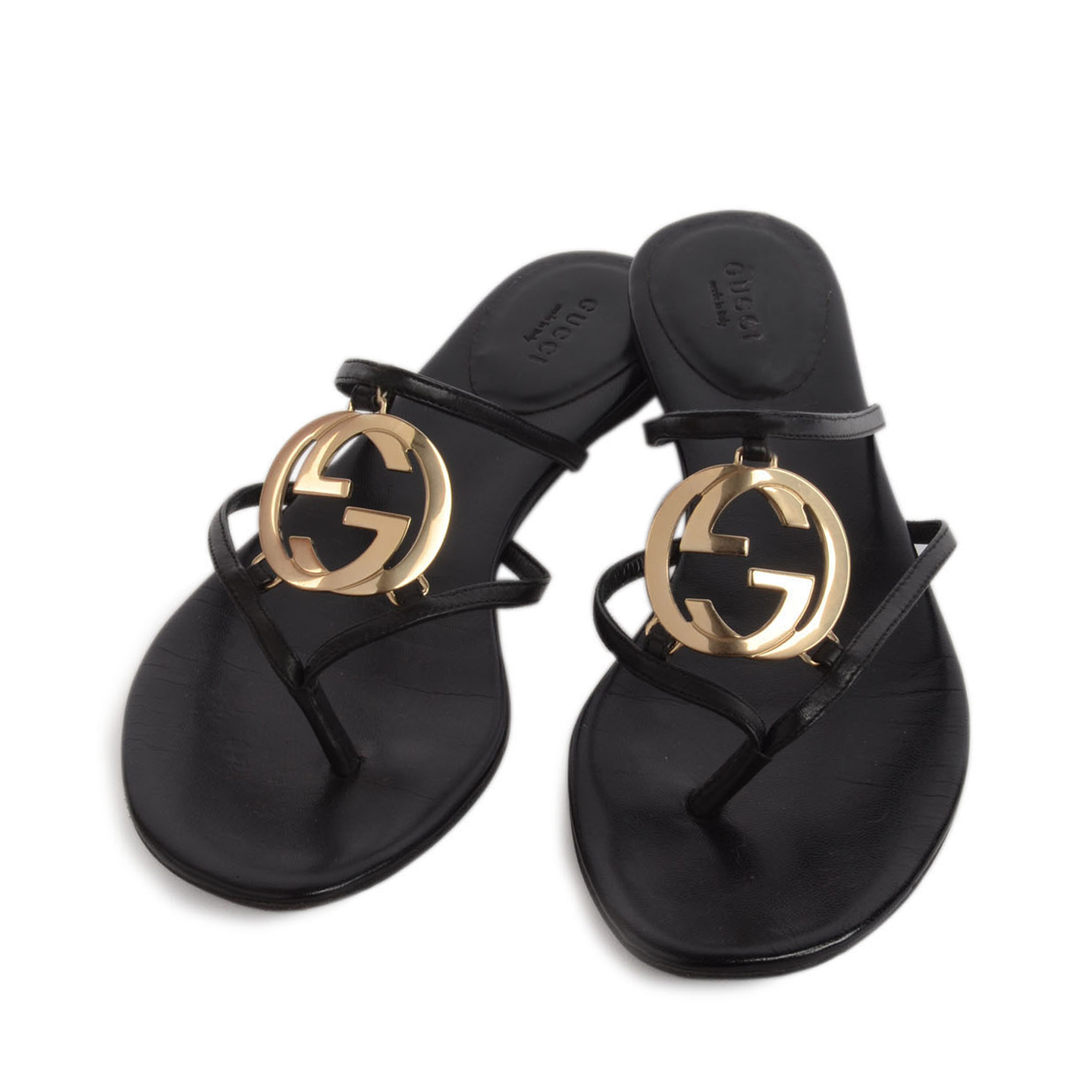 0441de854 ... Gucci Leather GG Cage Flat Thong Sandals Size 39 ...