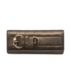 Gucci Metallic Gunmetal Monogram Leather Romy Clutch 1