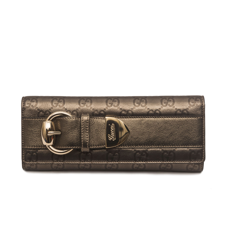 02e7fb25edb36a Gucci Metallic Gunmetal Monogram Leather Romy Clutch - LabelCentric