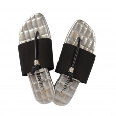 Chanel Silver/Black Elastic Quilted Flat Sandals