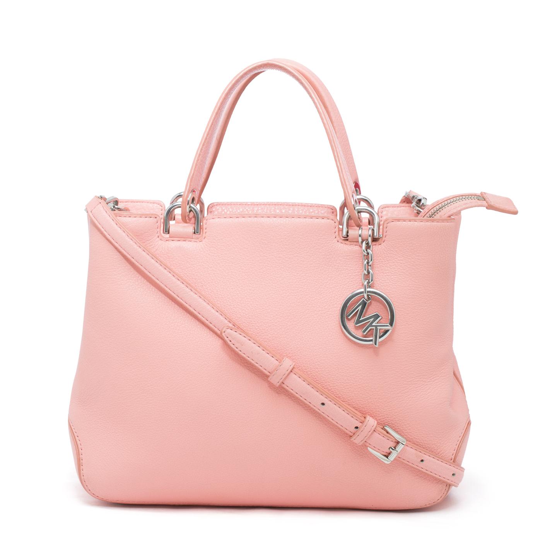 michael michael kors pink leather satchel bag labelcentric. Black Bedroom Furniture Sets. Home Design Ideas