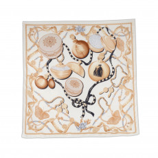 Lanvin Cream Printed Silk Square Scarf 01