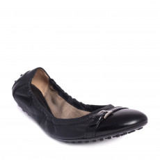 Tod's Black Leather Buckle Detail Ballet Flats 01