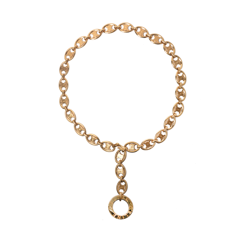 VINTAGE Celine Oval Gold Chain Link Belt (01)