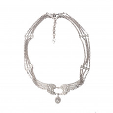 Valentino Crystal Rolling Wings Buckle Metal Belt
