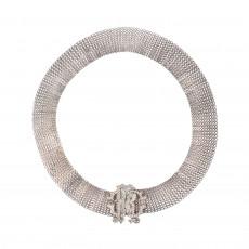 Roberto Cavalli Crystal Logo Silver Belt 01