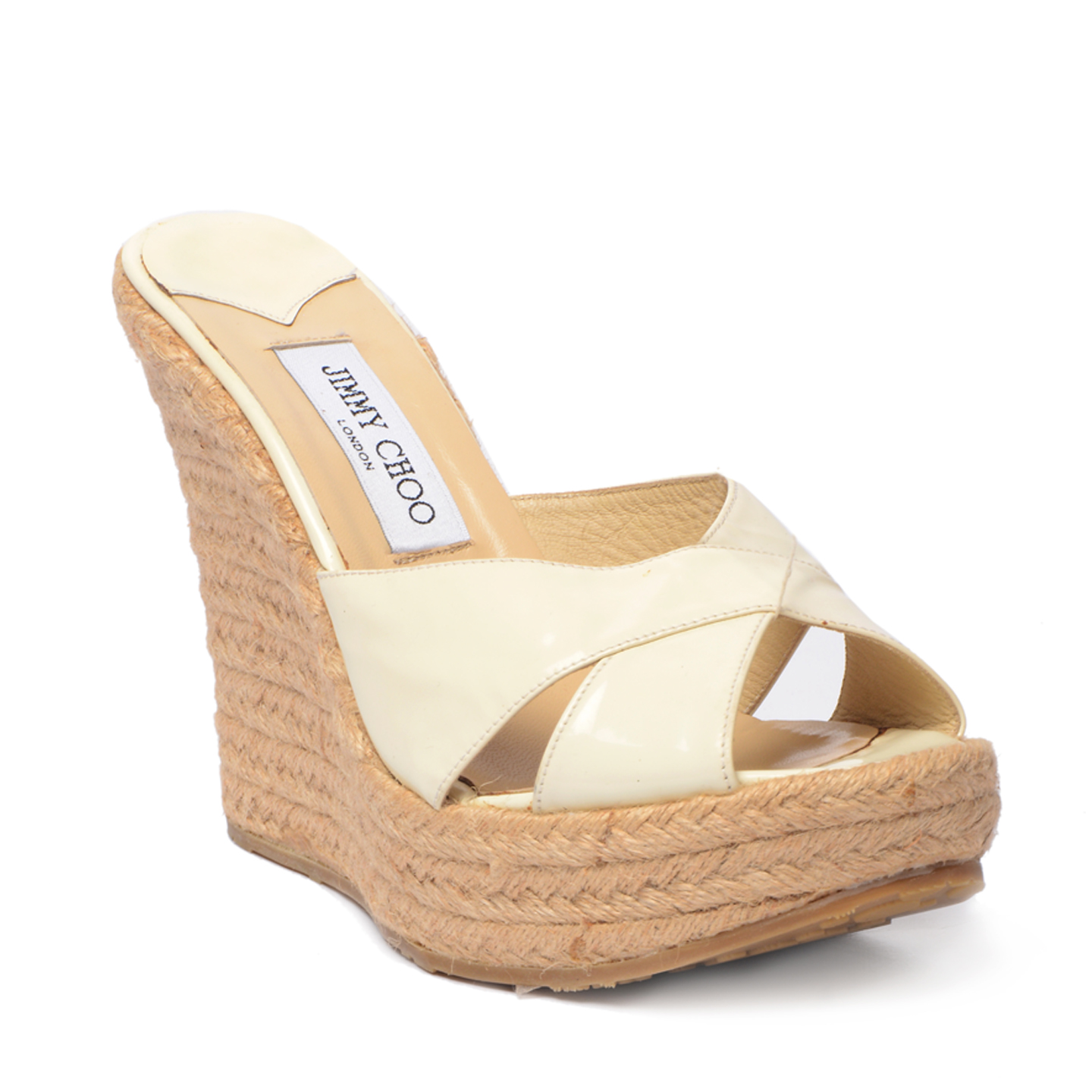 Jimmy Choo Cream Patent 'Phyllis' Espadrilles Wedges (01)