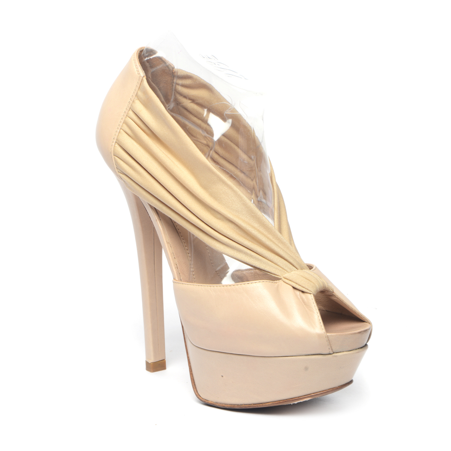 Fendi Gold/Beige Peep-Toe Platform Pumps 01
