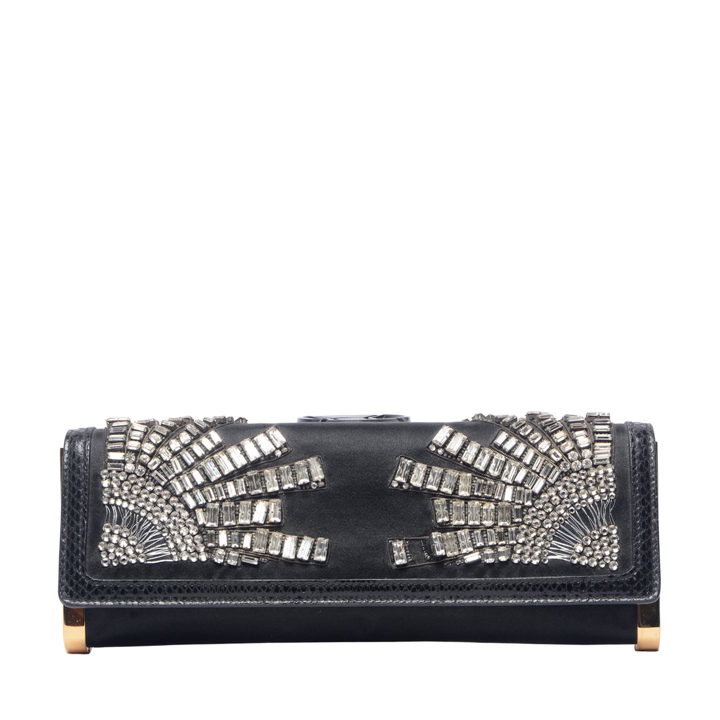 Gucci Black Satin Embellished Clutch (01)