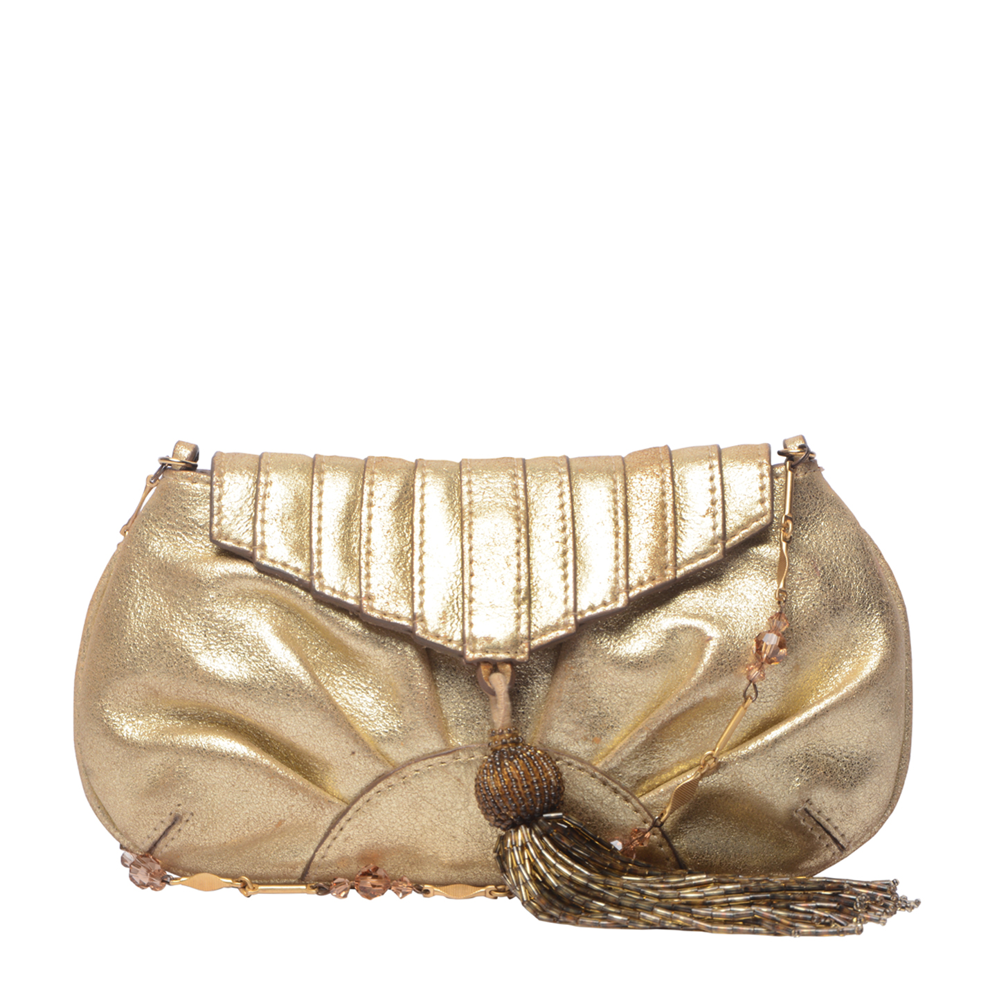 Anya Hindmarch Metallic Gold Leather Clutch (01)