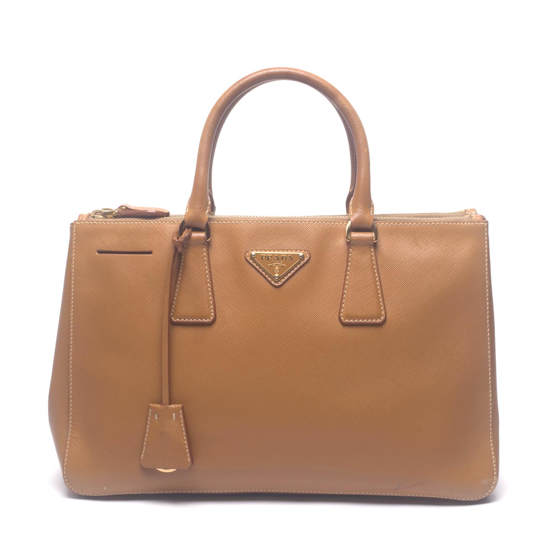 Prada Caramel Saffiano Lux Leather Small Double Zip Tote Bag (01)